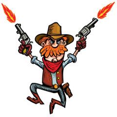 Cartoon cowboy jumping up and down with six guns
