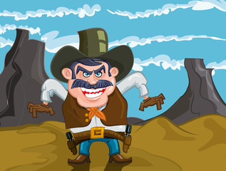 Acrylic Prints Wild West Cartoon cowboy with an evil smile