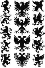 Heraldic animals vector silhouette