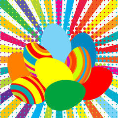 Colored Easter eggs on sunburst background