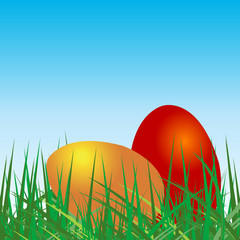 Colored eggs over grass and blue sky background