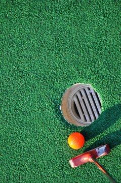 Mini golf and green background