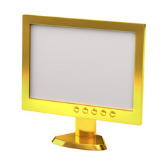 Golden LCD monitor isolated on white background