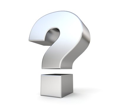 3d metal question mark