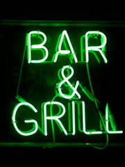 bar and grill neon sign
