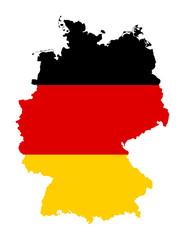 Fototapete - German flag on map