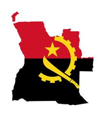 Fototapete - Angola flag on map