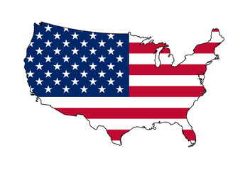 Fototapete - USA flag on country map