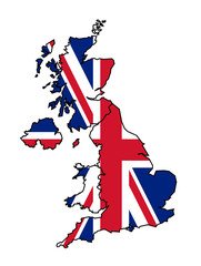 Fototapete - UK Map with flag