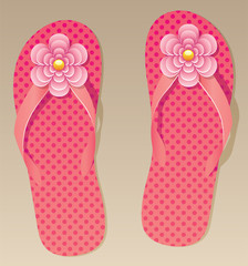 vector pair of flip flops with flowers