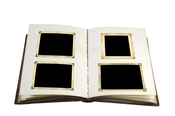 Opened book with blank vintage picture frames free picture space