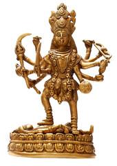 Golden Hindu Goddess Kali isolated over white