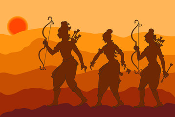 Lord Rama with Sita and Laxman going to forest
