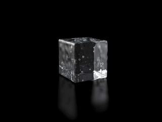 Ice cubes isolated on black background