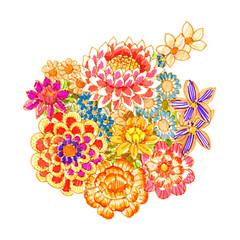 bouquet of fancy flowers, felt-tip pen