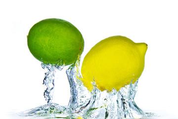 Poster Eclaboussures d eau citrus fruit splashing