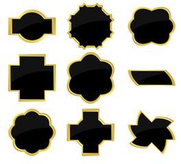 set of vector black and golden frames