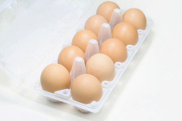Eggs in tray top view.