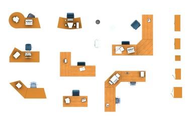 floor plan, office furniture set