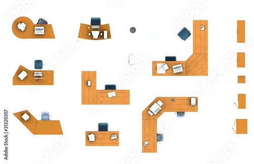 floor Plan Office Furniture Set Stock Photo And Royalty