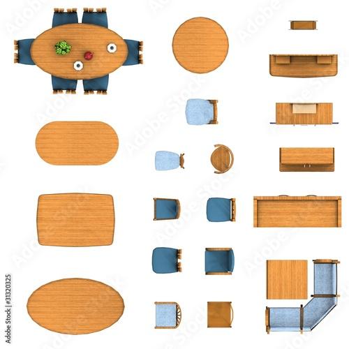 Floor Plan Dining Room Furniture Set