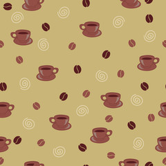 Seamless wallpaper with coffee beans and cups