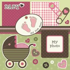 Baby scrapbook elements, vector
