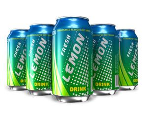 Set of lemon soda drinks in metal cans