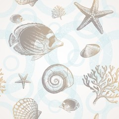 Vector seamless background - underwater tropical fauna