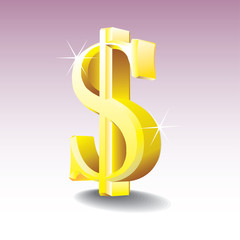 Dollar sign isolated on gradient background - illustration