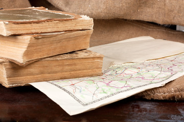 Vintage map and books