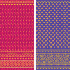 Indian Sari textile design, elaborate and easily editable