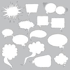 Sketched speech bubbles
