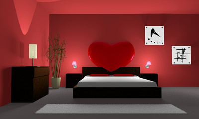 bedroom with a heart