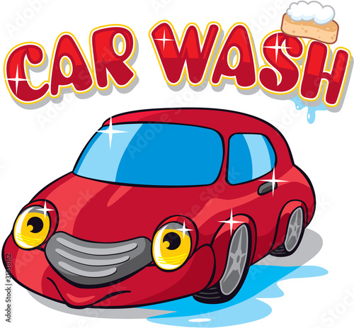 """Cute Cartoon Car With Car Wash Sign"" Stock Image And"
