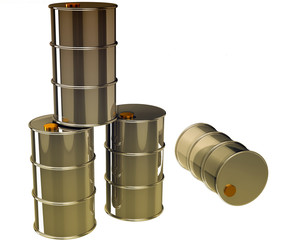 isolated oil barrels