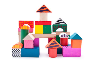 Colorful building blocks with clipping path