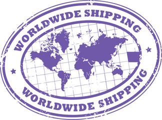 Stamp with a world map and the text worldwide shipping