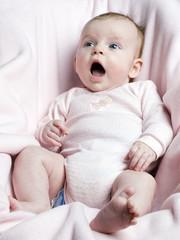 Yawning little girl