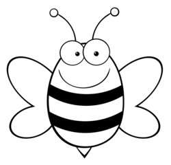 Outlined Bee Mascot Cartoon Character