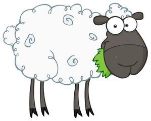 Black Sheep Cartoon Character Eating A Grass