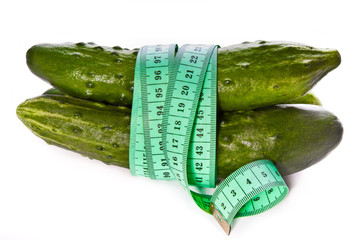 cucumbers tied with centimeter