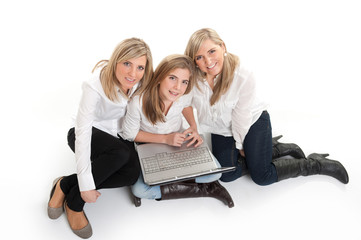 Aerial view of happy girls with laptop