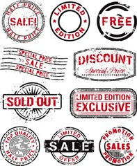 collection of vector  rubber stamps for shopping business