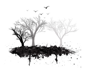 Trees on a grunge splatter