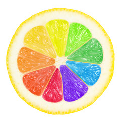 colorful lemon saved with clipping path for individual colors