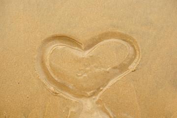Heart shape on sand.