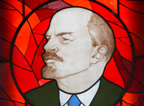 Lenin (Ulyanov) )Vladimir Ilich head of a red stained-glass