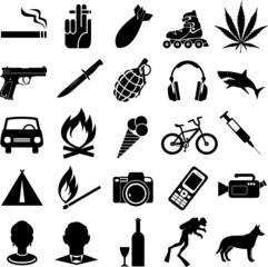 Set of different black vector symbols