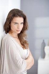 Portrait of attractive thinking woman